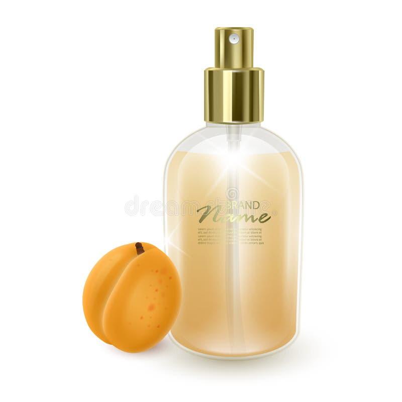 Jar avec parfum sur fond d'abricot orange, jarre réaliste avec distributeur, parfum avec arôme d'abricot, vecteur EPS 10 illustration stock