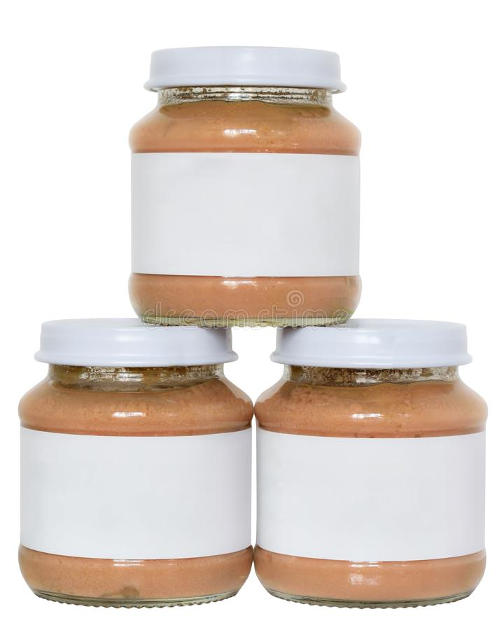 Jar of baby meat food tower isolated royalty free stock photo