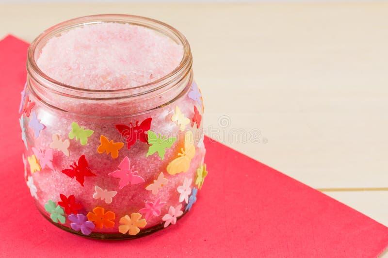Jar of bathing salt royalty free stock photography