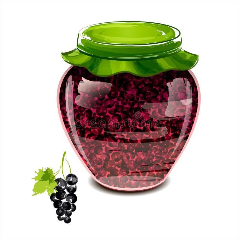 Download Jar of black currant jam stock illustration. Image of agriculture - 30808801