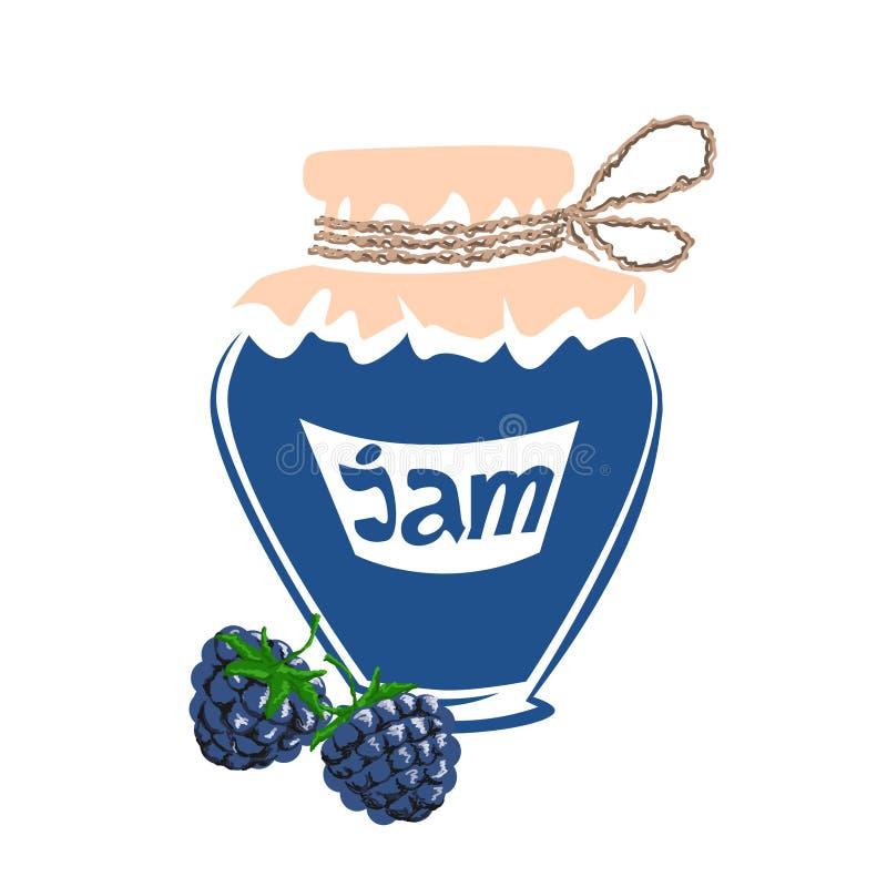 Jar of blackberry jam stock images