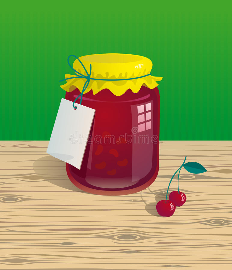 Jar Of Cherry Jam Royalty Free Stock Images