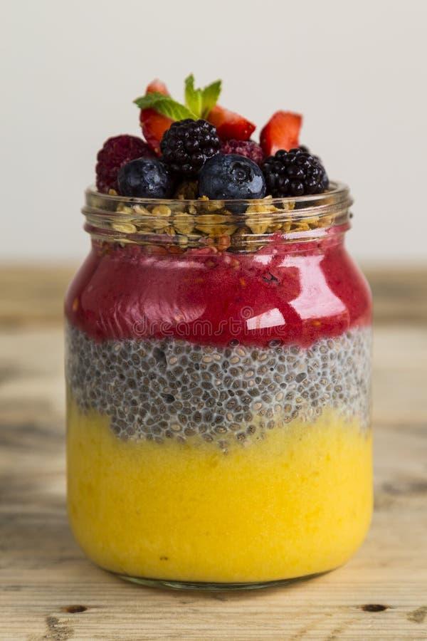 Jar of chia pudding royalty free stock image