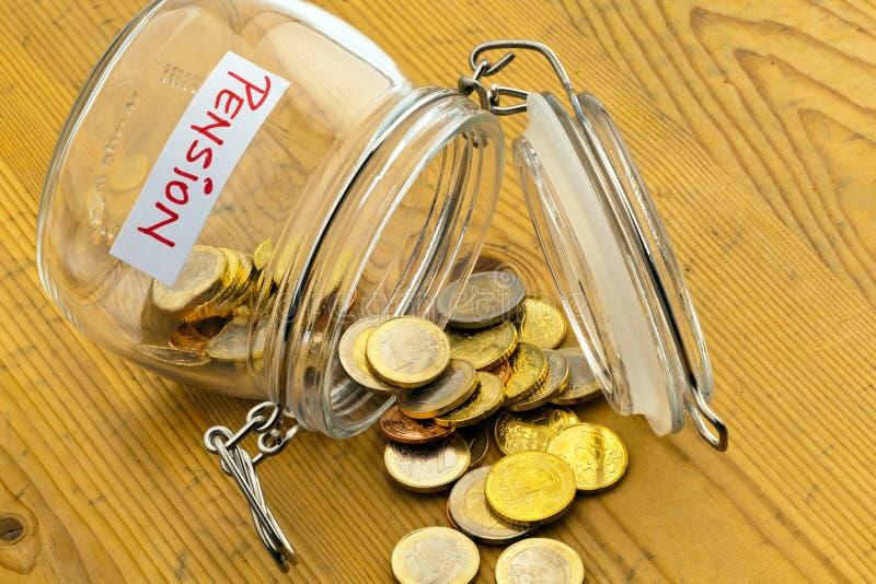 Jar with coins. inscription retirement / pension