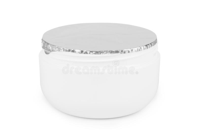Jar of cosmetic cream on white backgroun.  royalty free stock photos