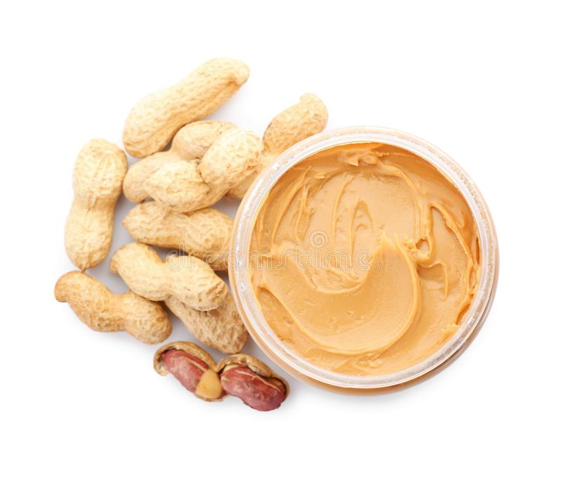 Jar with creamy peanut butter stock image