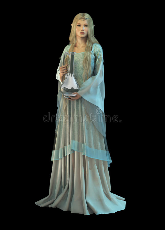 The Jar, 3d CG. 3d computer graphics of an elven princess with a silver carafe in their hands stock illustration