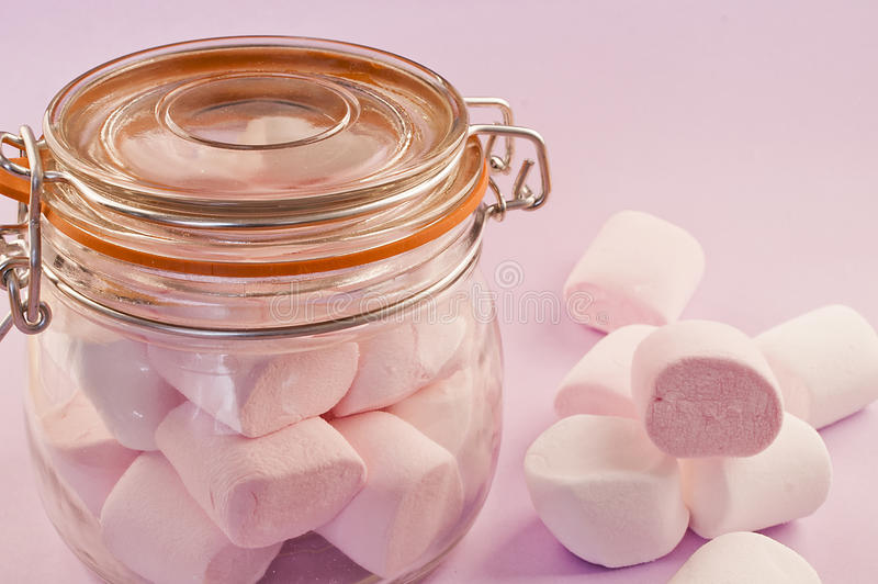 Jar Of Delicious Marshmallows Royalty Free Stock Photo