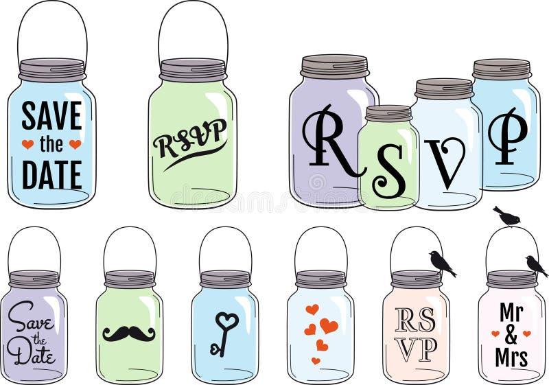 Jar designs, vector set stock illustration