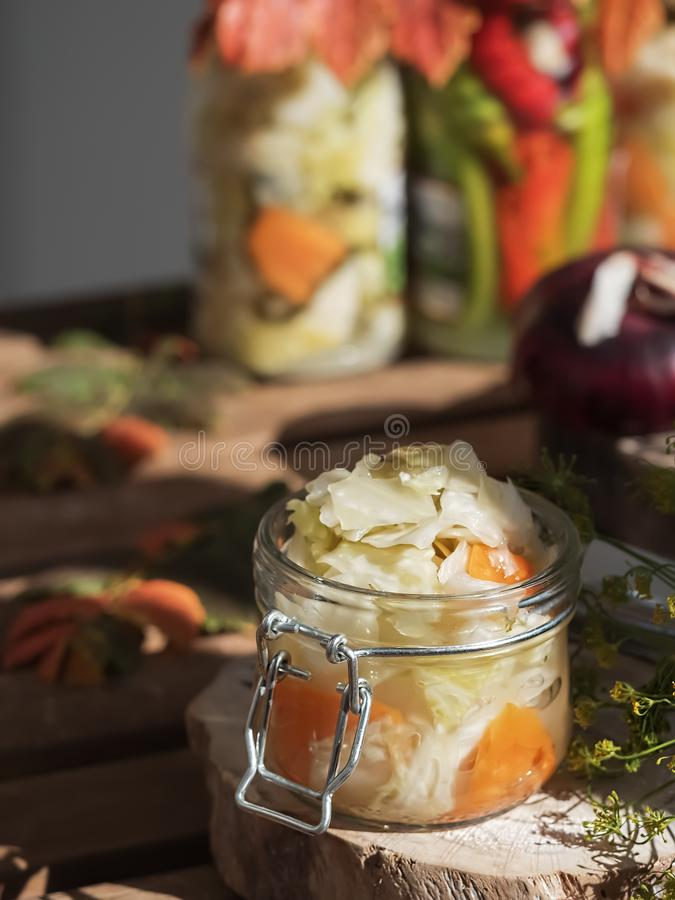 Jar with fermented vegetables. Fermented, canned vegetarian food concept. Cabbage, dill, carrot. Sauerkraut in a glass jar on a stock photo