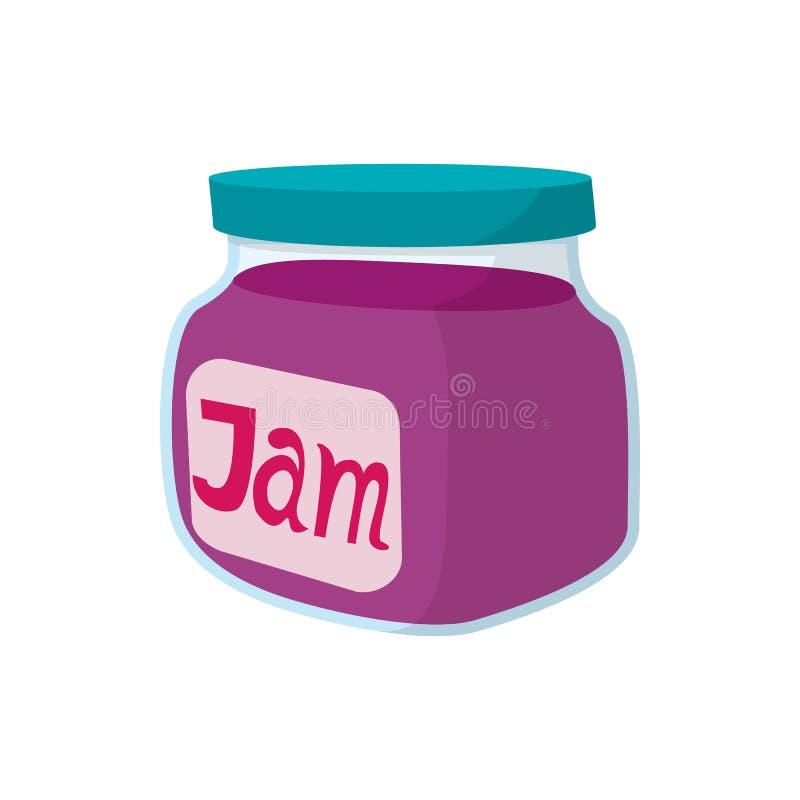 Jar of fruity jam icon, cartoon style vector illustration