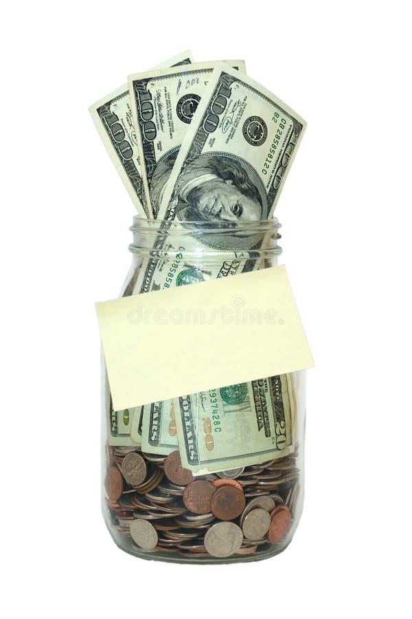 Jar Full of Money, Blank Note, Saving Isolated stock photography