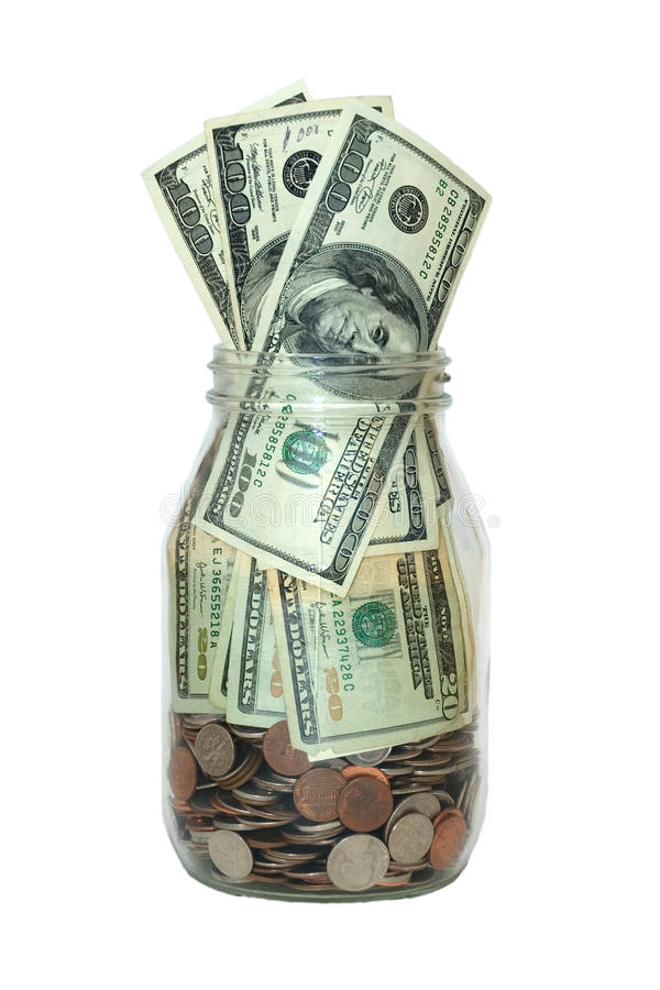 Jar Full Of Money, Saving Concept, Isolated Royalty Free Stock Images
