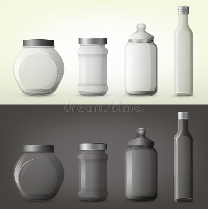 Jar or glass bottles for spice or seasoning. Set of isolated glassware bottles for spicy cooking ingredient. Jar with spice or container for seasoning, can for vector illustration