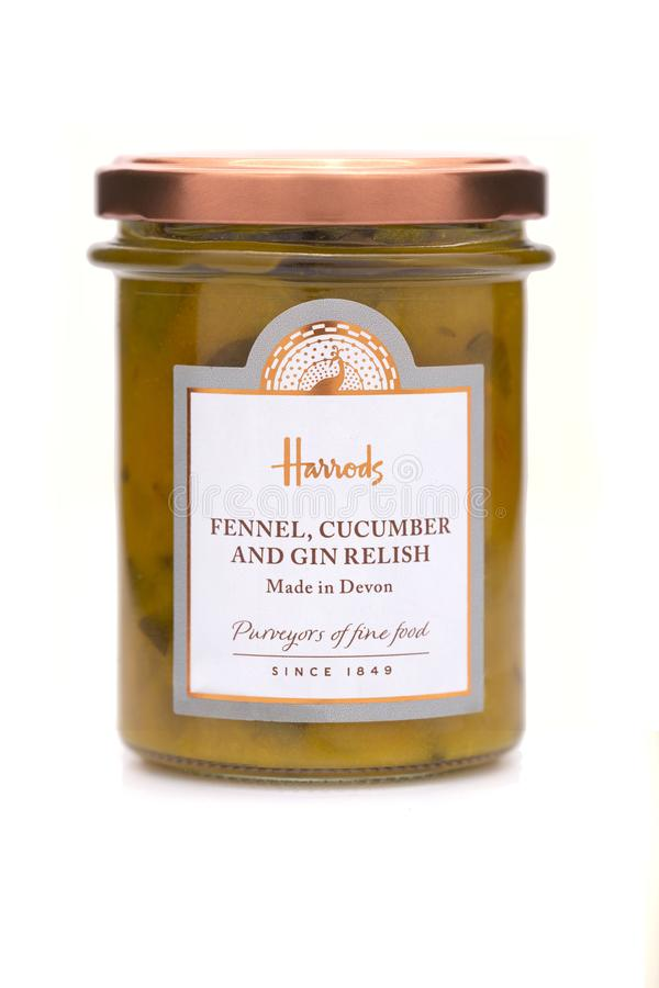 Jar of Harrods Fennel, Cucumber and Gin Relish. SWINDON, UK - APRIL 25, 2018: Jar of Harrods Fennel, Cucumber and Gin Relish on a white background stock photo