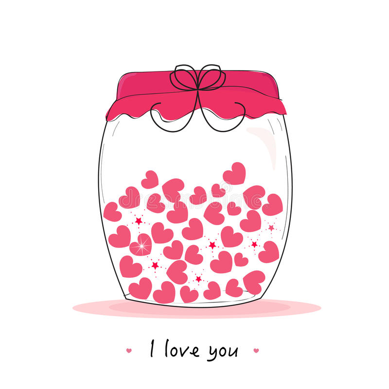 Jar of hearts, i love you written valentine's day greeting card royalty free illustration