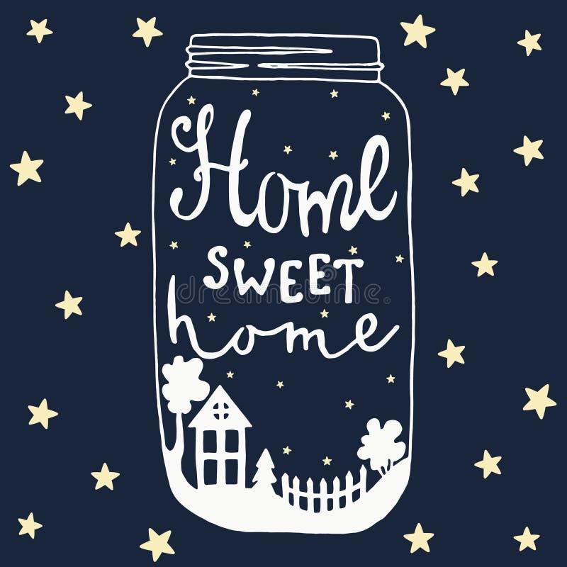 Jar Home sweet home. House, yard, tree, stars, fence, bush stock illustration