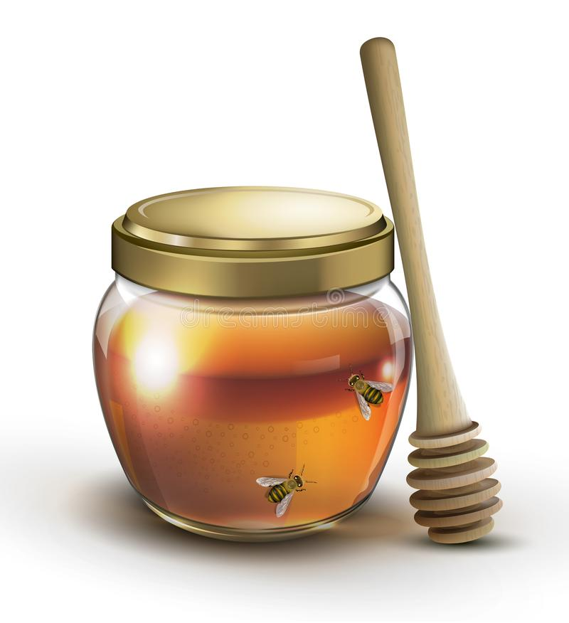 Jar of honey and bees on white background. Jar of honey and bees isolated on white background royalty free illustration