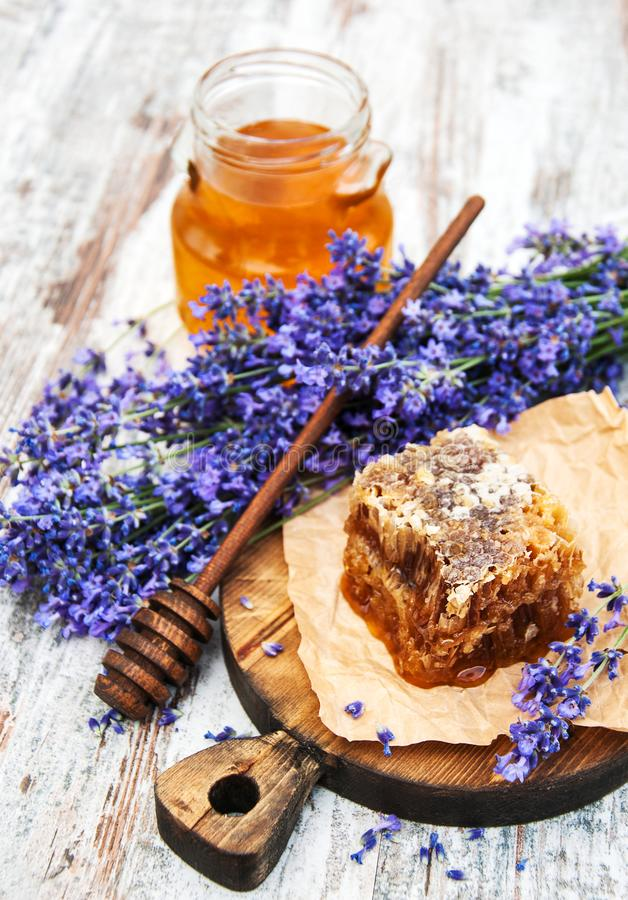 Honey and lavender royalty free stock photo