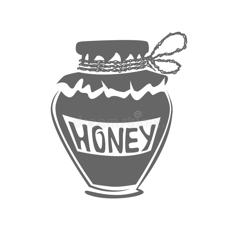 Jar of honey silhouette stock images