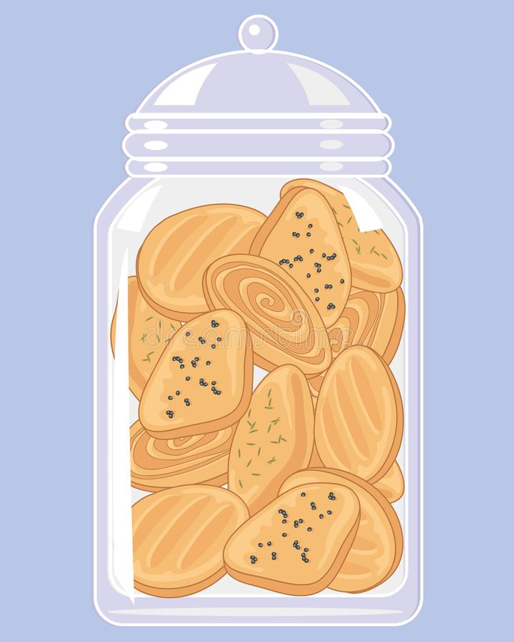 Jar of indian biscuits with spicy toppings on a blue background. An illustration of a glass jar full of spicy indian biscuits on a light blue background royalty free illustration
