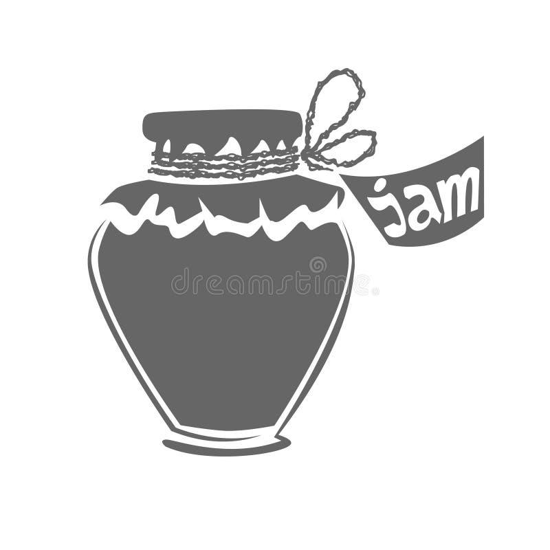 Jar of jam silhouette stock image