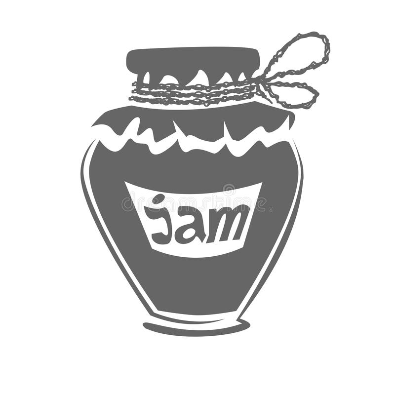 Jar of jam silhouette stock images