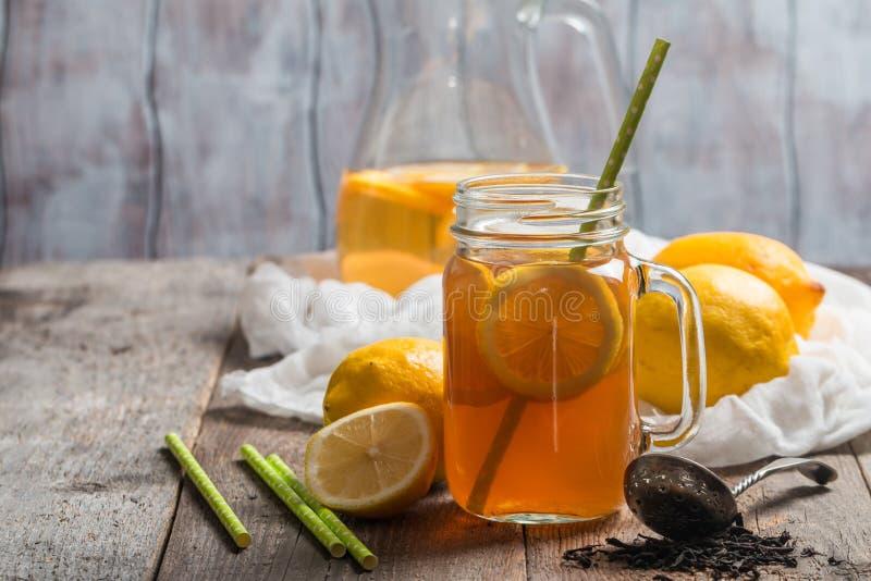 Jar of lemon ice tea royalty free stock image