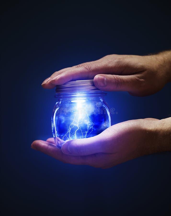Jar Of Lightnings Royalty Free Stock Photo