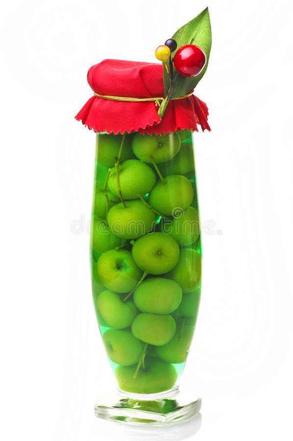 Jar of little apples royalty free stock photography