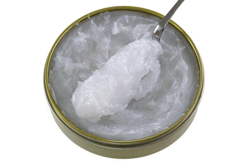 A jar of Mink Oil, to lubricate leather. And preventing chapping and helps to waterproof leather royalty free stock photo