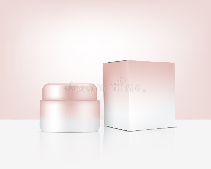 Jar Mock up Realiste Rose Gold Cosmetic and Box for Skincare Product Illustration de fond Concept de soins de santé et de médecin illustration de vecteur