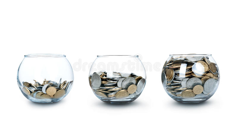 Jar of Money Like a Diagram Isolated stock images