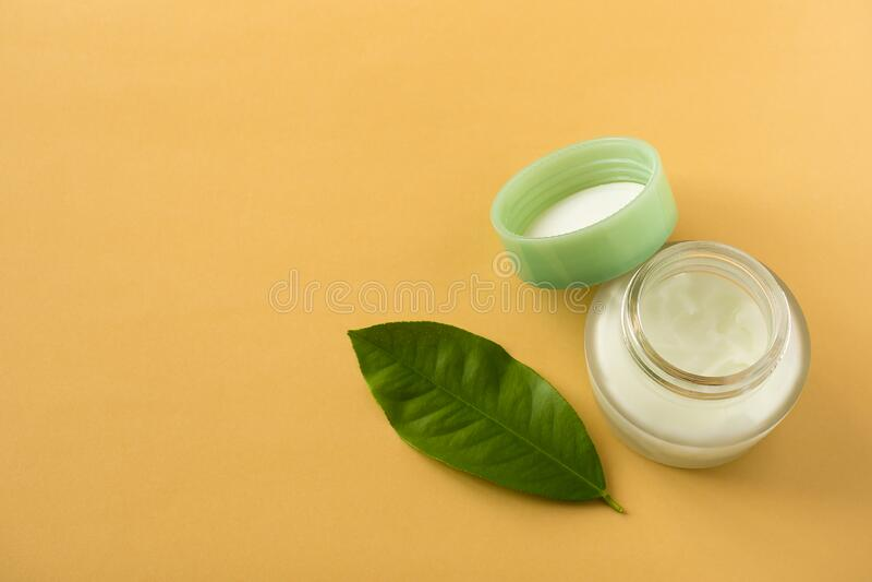 A jar of natural skin care cream. Copy space. A jar of natural skin care cream. Close-up. Copy space stock photos