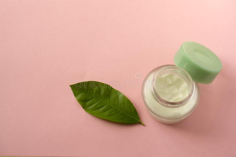 A jar of natural skin care cream. Copy space. Close-up stock image
