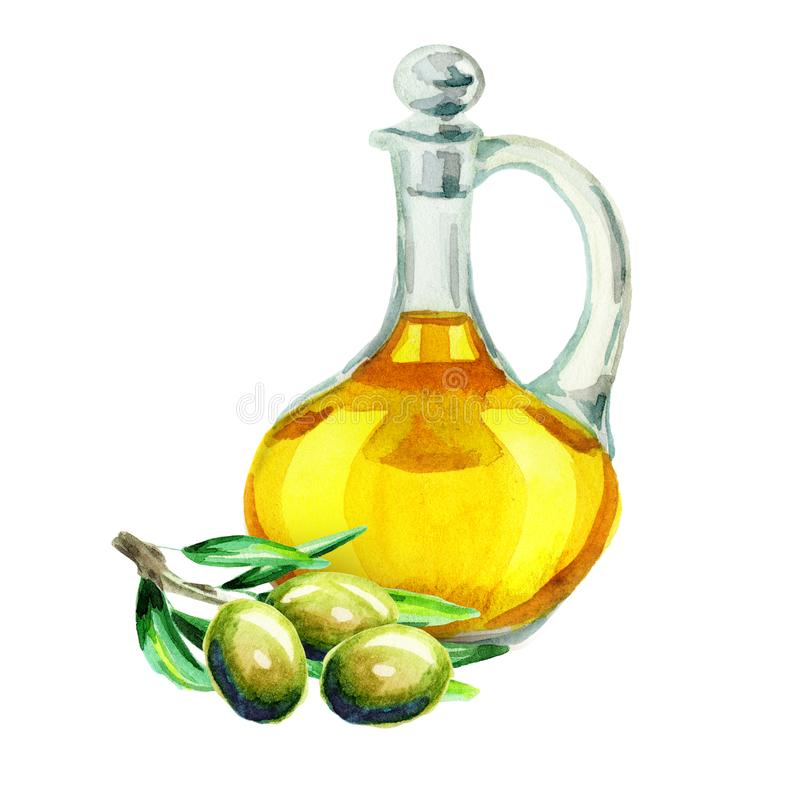Jar with olive oil. Watercolor hand drawn illustration, isolated on white background. vector illustration