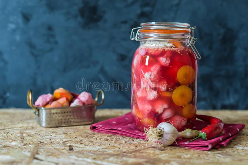 Jar of pickled vegetables by Indian traditional  recipe royalty free stock image