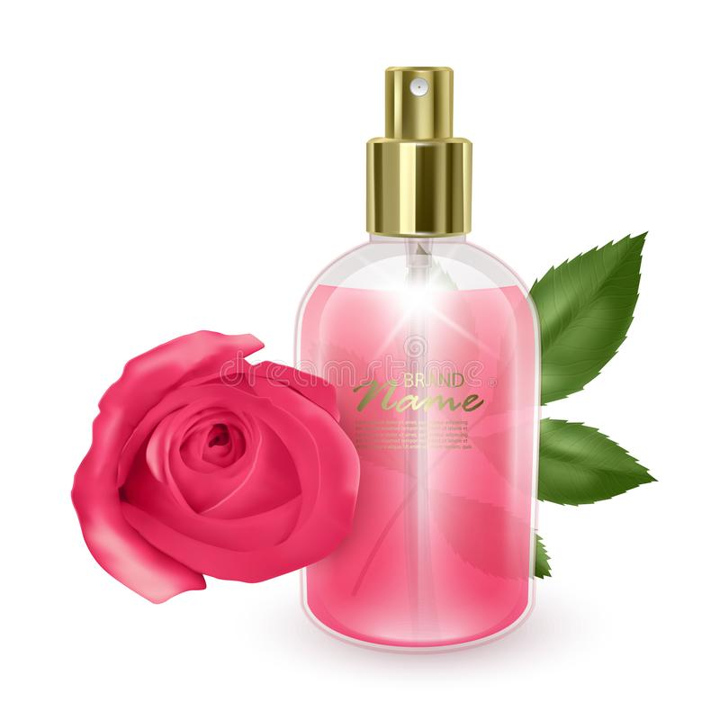 Jar with pink perfume on a red rose background, realistic bottle with dispenser, vector illustration stock illustration