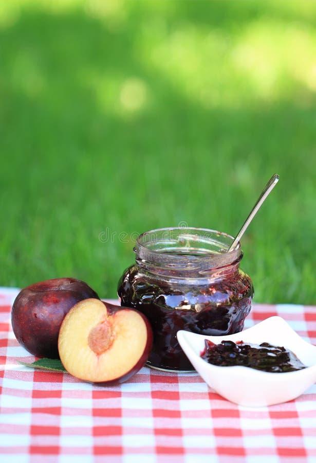 Jar of plum jam royalty free stock images