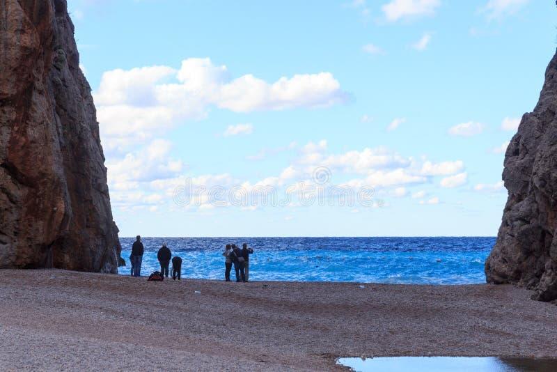 Jar Potok De Pareis, plaża i morze śródziemnomorskie, Majorca zdjęcia stock