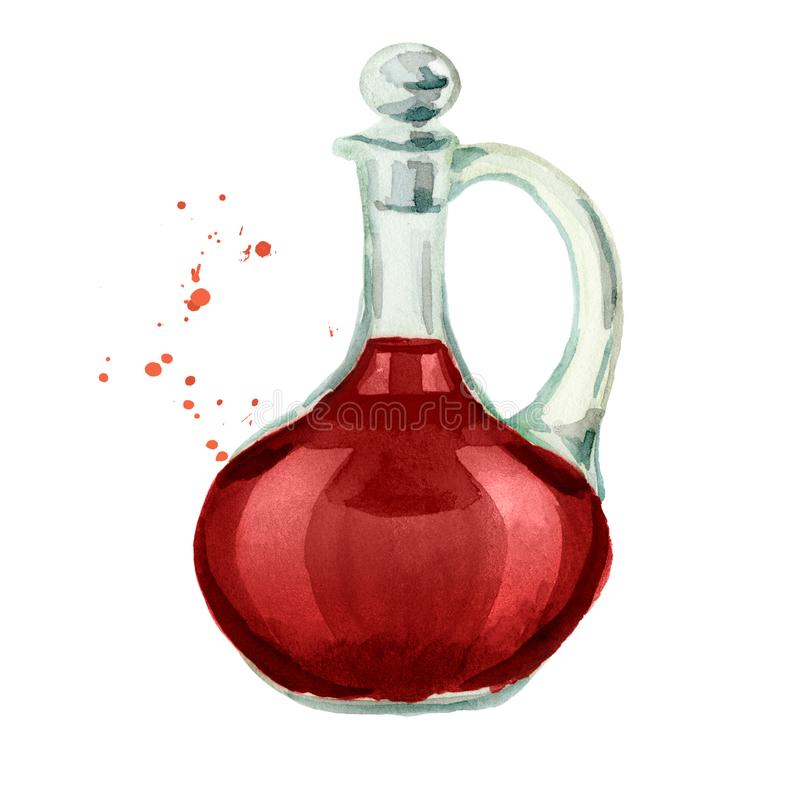 Jar with red wine vinegar. Watercolor hand drawn illustration, isolated on white background stock illustration
