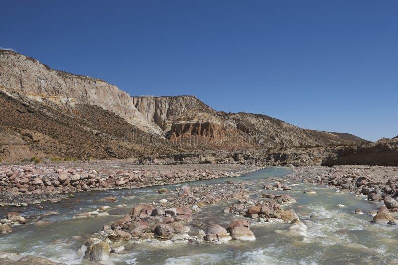 Jar Rio Lluta na Altiplano, Chile obrazy royalty free