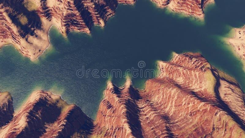 Jar rzeki widok z lotu ptaka ilustracja wektor