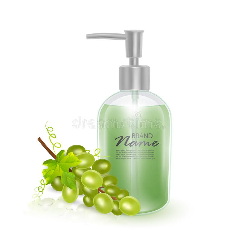 A jar of shampoo or liquid soap with the scent of grapes, realistic shampoo bottle and green grape on white background, cosmetic. Product healthcare banner vector illustration