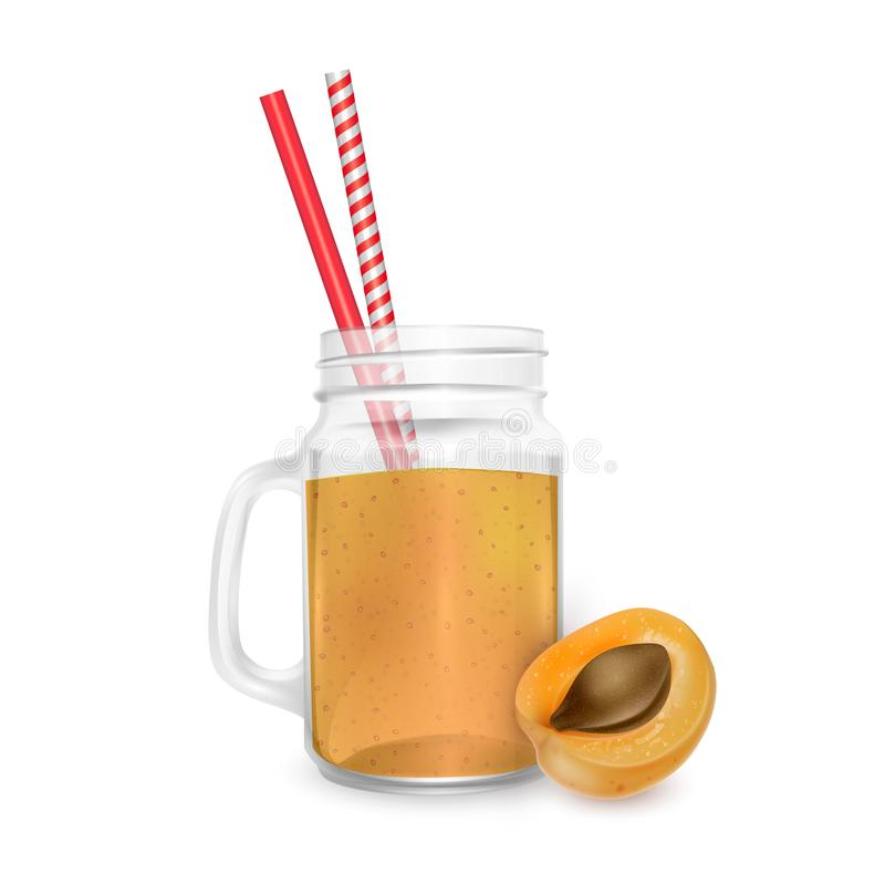 The jar of smoothies of Apricot with striped straw for cocktails isolated on white background for advertising your products drinks stock illustration