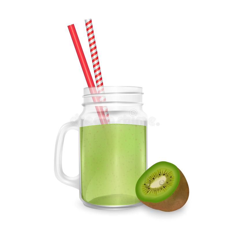 The jar of smoothies of kiwi and striped straw for cocktails isolated on white background for advertising your products drinks in stock illustration