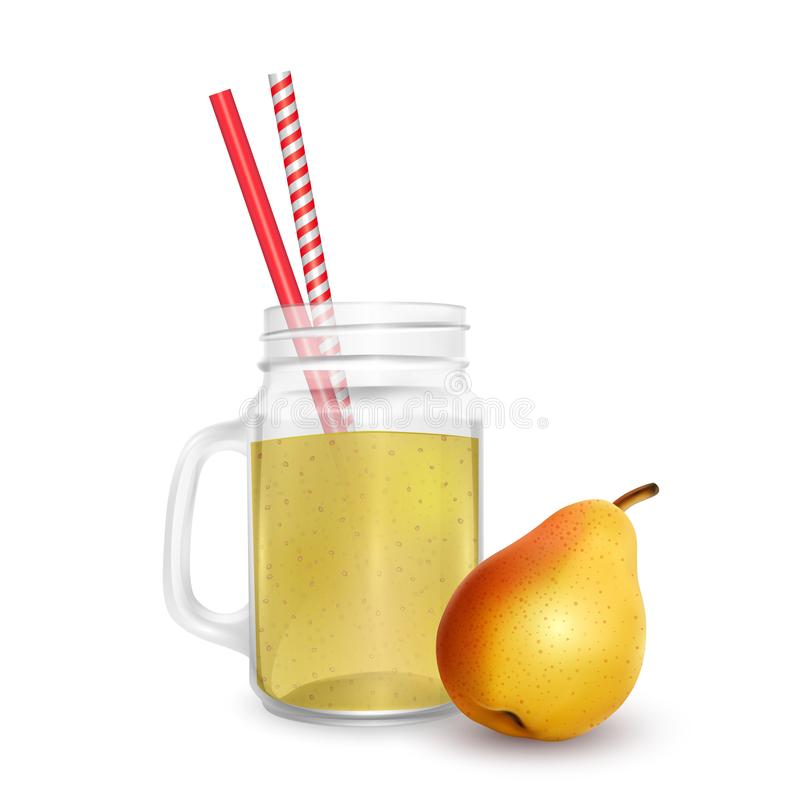 The jar of smoothies of pear with striped straw for cocktails isolated on white background for advertising your products drinks in. Restaurants and cafes. 3D royalty free illustration