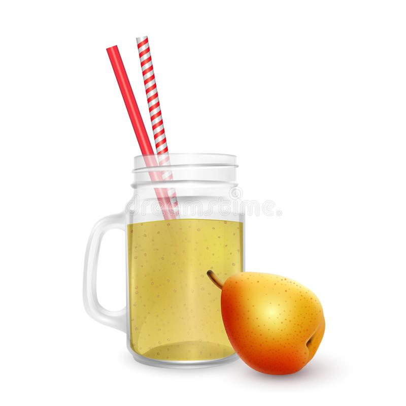 The jar of smoothies of pear with striped straw for cocktails isolated on white background for advertising your products drinks in. Restaurants and cafes. 3D vector illustration