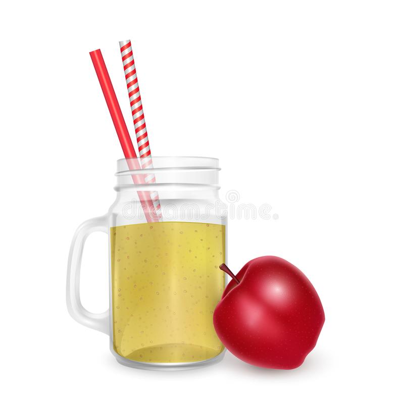 The jar of smoothies of red apple with striped straw for cocktails isolated on white background for advertising your products vector illustration