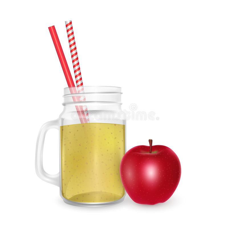 The jar of smoothies of red apple with striped straw for cocktails isolated on white background for advertising your products. Drinks in restaurants and cafes royalty free illustration